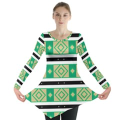 Green Rhombus And Stripes           Long Sleeve Tunic