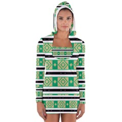 Green rhombus and stripes           Women s Long Sleeve Hooded T-shirt