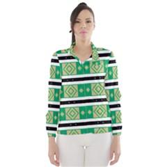 Green Rhombus And Stripes           Wind Breaker (women)