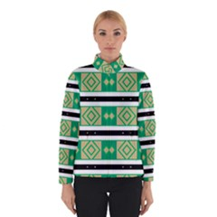 Green rhombus and stripes           Winter Jacket