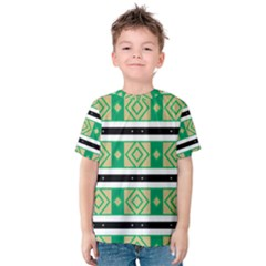 Green rhombus and stripes           Kid s Cotton Tee