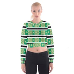Green Rhombus And Stripes             Women s Cropped Sweatshirt
