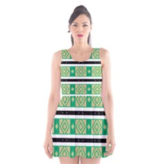 Green rhombus and stripes           Scoop Neck Skater Dress