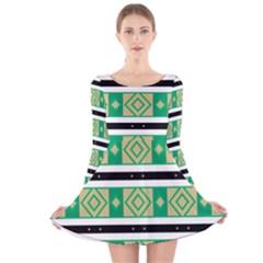Green rhombus and stripes           Long Sleeve Velvet Skater Dress