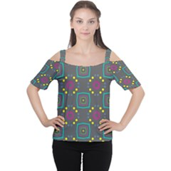 Squares and circles pattern Women s Cutout Shoulder Tee
