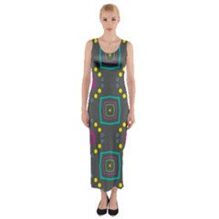 Squares and circles pattern Fitted Maxi Dress