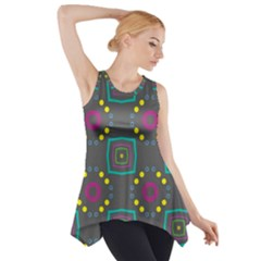 Squares and circles pattern Side Drop Tank Tunic