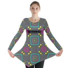 Squares And Circles Pattern Long Sleeve Tunic