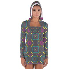 Squares and circles pattern Women s Long Sleeve Hooded T-shirt