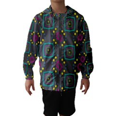Squares and circles pattern Hooded Wind Breaker (Kids)
