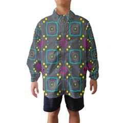 Squares And Circles Pattern Wind Breaker (kids)
