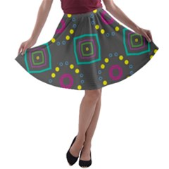 Squares And Circles Pattern A Line Skater Skirt