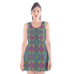 Squares and circles pattern Scoop Neck Skater Dress