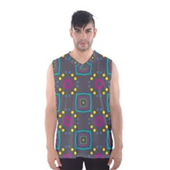 Squares and circles pattern Men s Basketball Tank Top