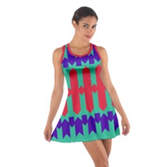 Purple yellow shapes  Cotton Racerback Dress