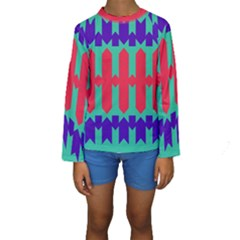 Purple yellow shapes   Kid s Long Sleeve Swimwear