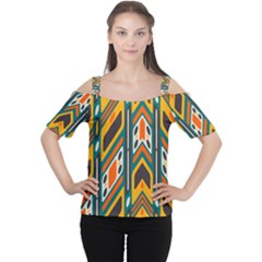 Distorted shapes in retro colors   Women s Cutout Shoulder Tee