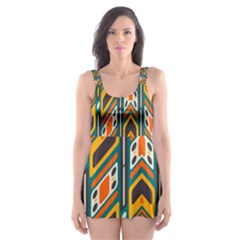 Distorted shapes in retro colors   Skater Dress Swimsuit