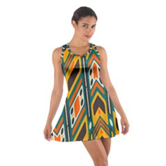 Distorted shapes in retro colors   Cotton Racerback Dress