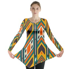 Distorted Shapes In Retro Colors   Long Sleeve Tunic