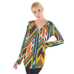 Distorted shapes in retro colors    Women s Tie Up Tee