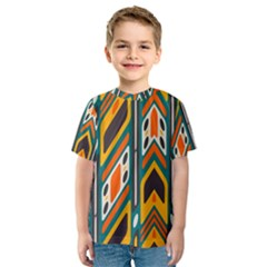Distorted Shapes In Retro Colors   Kid s Sport Mesh Tee