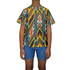 Distorted shapes in retro colors    Kid s Short Sleeve Swimwear