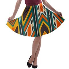 Distorted shapes in retro colors   A-line Skater Skirt