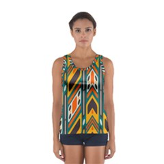 Distorted shapes in retro colors   Women s Sport Tank Top