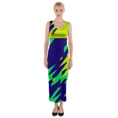 3 colors shapes    Fitted Maxi Dress