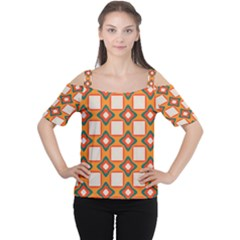 Flowers and squares pattern     Women s Cutout Shoulder Tee