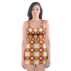Flowers And Squares Pattern     Skater Dress Swimsuit