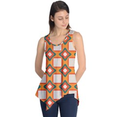 Flowers and squares pattern     Sleeveless Tunic