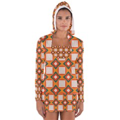 Flowers And Squares Pattern     Women s Long Sleeve Hooded T Shirt