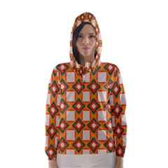Flowers and squares pattern     Hooded Wind Breaker (Women)