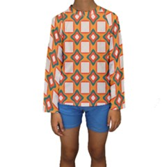Flowers and squares pattern      Kid s Long Sleeve Swimwear