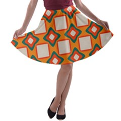 Flowers And Squares Pattern     A Line Skater Skirt