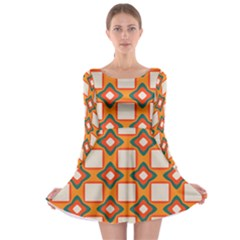 Flowers And Squares Pattern     Long Sleeve Skater Dress