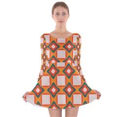 Flowers and squares pattern     Long Sleeve Velvet Skater Dress