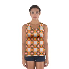 Flowers and squares pattern     Women s Sport Tank Top