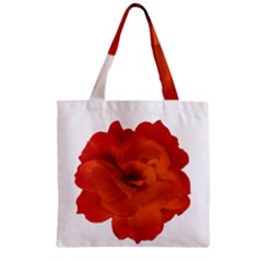 Red Rose Photo Zipper Grocery Tote Bag