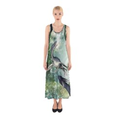 Awesome Seadraon In A Fantasy World With Bubbles Full Print Maxi Dress