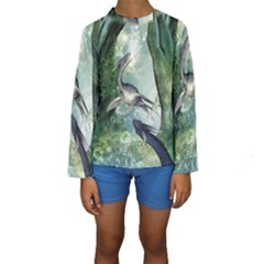 Awesome Seadraon In A Fantasy World With Bubbles Kid s Long Sleeve Swimwear