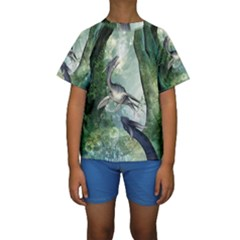 Awesome Seadraon In A Fantasy World With Bubbles Kid s Short Sleeve Swimwear
