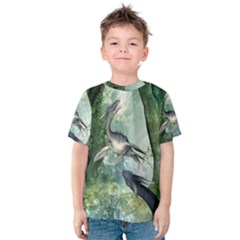 Awesome Seadraon In A Fantasy World With Bubbles Kid s Cotton Tee