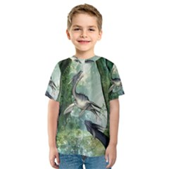 Awesome Seadraon In A Fantasy World With Bubbles Kid s Sport Mesh Tee