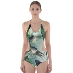 Awesome Seadraon In A Fantasy World With Bubbles Cut-Out One Piece Swimsuit
