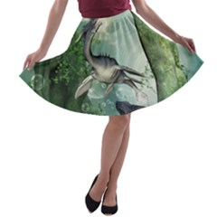 Awesome Seadraon In A Fantasy World With Bubbles A-line Skater Skirt