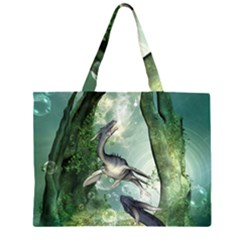 Awesome Seadraon In A Fantasy World With Bubbles Zipper Large Tote Bag