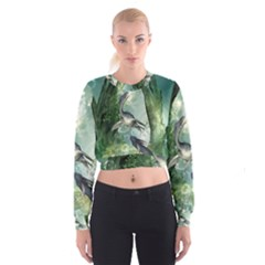 Awesome Seadraon In A Fantasy World With Bubbles Women s Cropped Sweatshirt